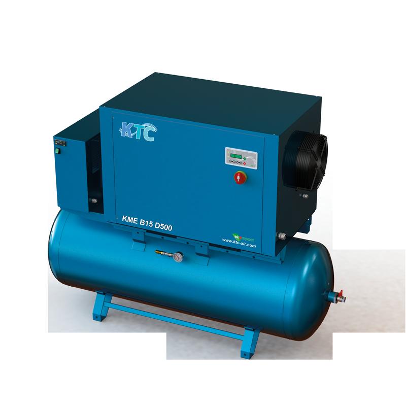 11 - 15 kw schroefcompressor met droger op ketel compleet station
