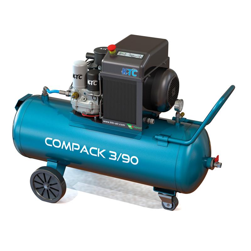 KTC Compack 3 op ketel schroefcompressor mobiel