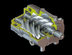 Schroefblok open schroefcompressor