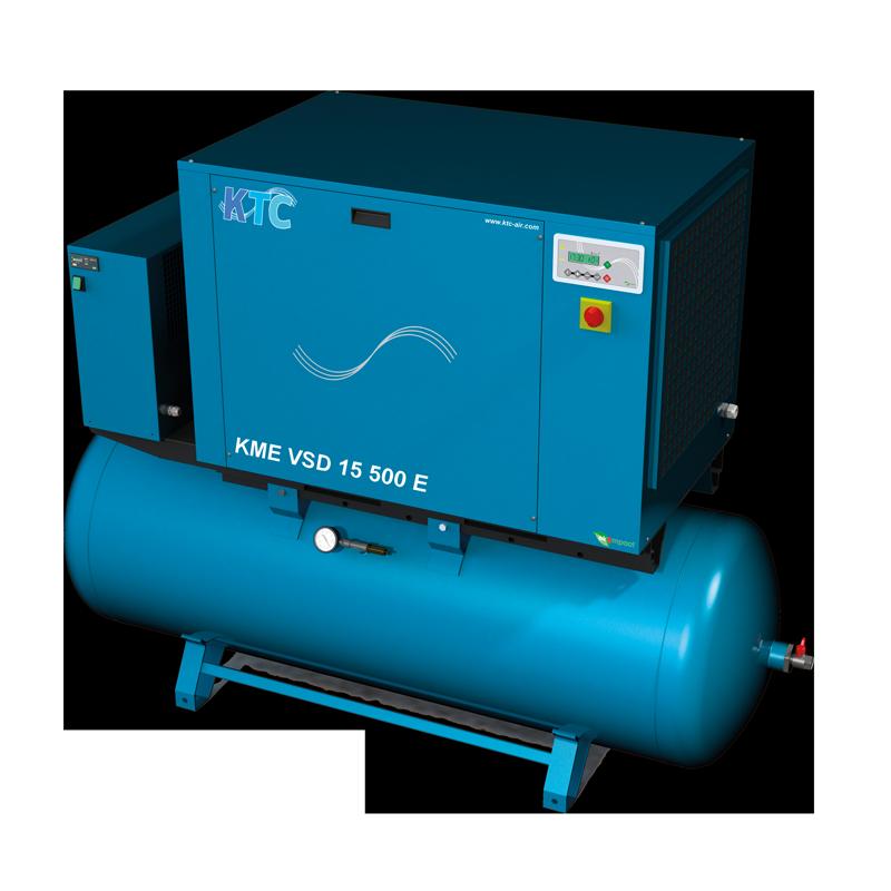 frequentie geregelde schroefcompressor 20 PK op ketel met droger
